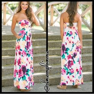 Floral tube maxi dress